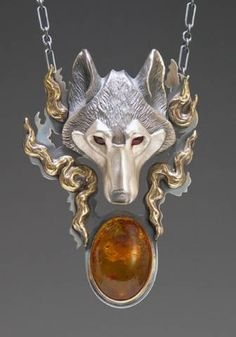 Handcrafted Silver Jewelry Wolf Jewelry Pendant  Awesome!!!