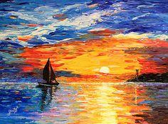 Saatchi Art: Romantic Sea Sunset acrylic palette knife painting Painting by Georgeta Blanaru Abstract Landscape Painting, Landscape Paintings, Sunset Paintings, Acrylic Paintings, Oil Paintings, Painting Abstract, Abstract Watercolor, Painting Art, Claude Monet