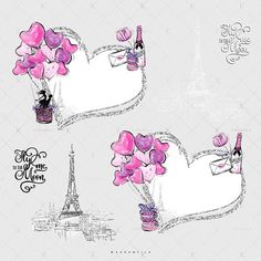 Pink Hearts Indigo Glitter Love Couple French Macarons Clip Art - for planner stickers, iPhone wallpapers, scrapbook paper or fabric printing by Karamfila Siderova, KaramfilaS Planner Stickers, Air Balloon, Balloons, Paris Clipart, Indigo, Balloon Clipart, Valentines Day Clipart, Craft Logo, Clip Art