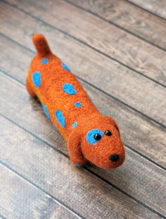 Dachshund. felted dog. Cute toy dog.