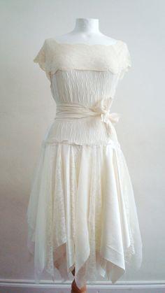 Upcycled Womans Clothing Romantic Tattered Eco Style Wedding Fairy Dress Ivory Cream Vanilla OOAK