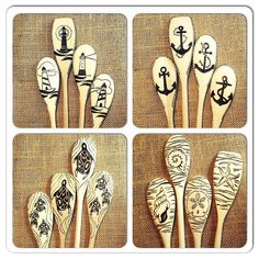 Custom Nautical Wood Spoons Lighthouses Sea Turtles by SueMadeThat