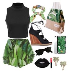 """""""palm trees"""" by xxmichelleg ❤ liked on Polyvore featuring Água de Coco, Green Banana, Tory Burch, Gucci, Ray-Ban, Dolce&Gabbana, Kate Spade, Lime Crime and balckandgreen"""