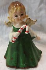 VINTAGE LEFTON ANGEL WITH CANDY CANE FIGURINE, 4 INCHES TALL, VG