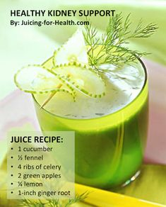 HEALTHY KIDNEY SUPPORT The diuretic properties of this juice combo effectively removes toxic wastes from the body through frequent urinati. Healthy Juice Recipes, Healthy Juices, Healthy Smoothies, Healthy Drinks, Detox Juices, Healthy Food, Vegetable Smoothies, Oatmeal Smoothies, Green Smoothies