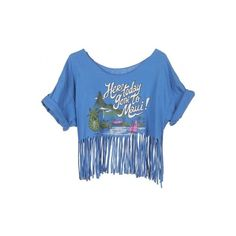 Rokit Recycled Blue 'Here Today Gone To Maui' Fringed T-Shirt -... ❤ liked on Polyvore featuring tops, t-shirts, shirts, crop top, american t shirt, t shirts, fringe crop top, crop tee and vintage crop top