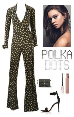"""Polka Dots"" by kotnourka ❤ liked on Polyvore featuring Diane Von Furstenberg, Gianvito Rossi, O My Bag and Maybelline"
