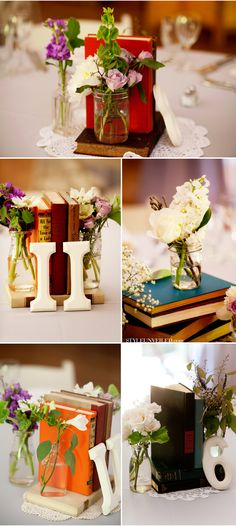 Using favorite books as centerpieces