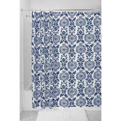 InterDesign Damask Shower Curtain, Grey metal