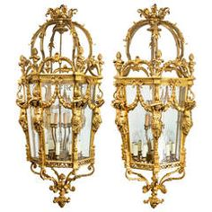 Fabulous French Bronze Dore Chandelier Lantern, Pair or Single