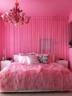 pink room! like the fabric on wall