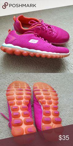 Skech-Air Skechers Hot pink, orange w/white trim; memory foam gel-infused insoles; gently worn Skechers Shoes Sneakers