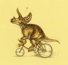 Just damn fine triceratops art  A tric on a trike!  Tricycling Triceratops by *Himmapaan on deviantART