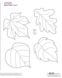 Nice templates for leaves! Mollie makes, Felt Leaf Template--cut out of craft foam to make stamp or embossing plate. Felt Patterns, Applique Patterns, Craft Patterns, Pattern Ideas, Felt Flowers, Fabric Flowers, Paper Flowers, Paper Butterflies, Craft Flowers