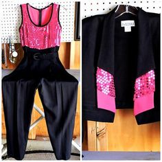 4d2a4728104 Items similar to 80s sequined jumpsuit   size 5   6   retro 2 piece sequin  jump suit   black neon pink party club pant suit   high waisted jumpsuit on  Etsy