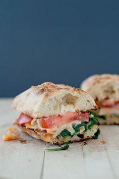 sauteed spinach turkey sandwiches // spinach, turkey, cheddar, ciabatta, roma tomato, garlic powder, butter, salt/pepper