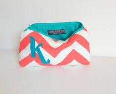 Coral & Teal Personalized Cosmetic Bag, Turquoise Chevron Custom Letter, Bridal Shower Favor Monogram Gift, Monogrammed Bridesmaids Wedding