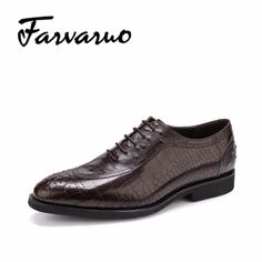 Mens Flat Dress Shoes Pointed Toe Casual Genuine Leather Oxford Brogues Crocodile Embossed Shoes Sapato Social Masculino Oxfords