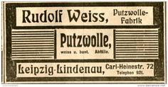 Original-Werbung/ Anzeige 1912 - PUTZWOLLE / RUDOLF WEISS LEIPZIG - LINDENAU - ca. 100 x 50 mm
