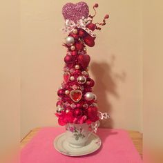 Excited to share the latest addition to my #etsy shop: Shabby Chic Valentine's Day Tinsel Tree Teacup Saucer Centerpiece