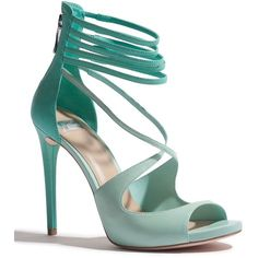 GUESS by Marciano Lena Sandal ($84) ❤ liked on Polyvore featuring shoes, sandals, heels, high heels, sapatos, menthol essence, ankle strap heel sandals, high heel sandals, leather high heel sandal and open toe high heel sandals