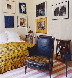 Frederic Malle / Francois Halard / Vogue {eclectic bohemian vintage modern bedroom},