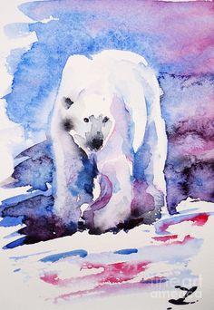 Polar bear Painting - Polar bear Fine Art Print Zaira Dzhaubaeva X #spirithoods #inneranimal