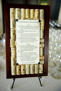 Cork boards I made to hold the wine list for the wedding