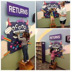 The book monster at #harringtonlibrary loves eating up returned books, they are its favorite treat! #books #monster #bookmonster #librarybooks #reading #planolibrary #plano #planotx