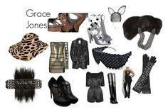 """Grace Jones"" by blackmagickbarbie ❤ liked on Polyvore featuring Hervé Léger, TIBI, Maison Michel, Thakoon, Balenciaga, Lipsy, Balmain, Alaïa, Nina Peter and Borsalino"