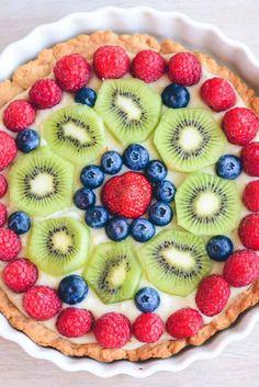 Tærte med frisk frugt. Opskrift fra Bageglad.dk
