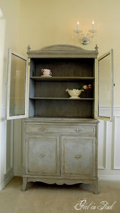 Cupboard makeover - Paris Grey over Old White with clear & dark wax