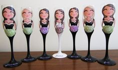 Bride and Bridesmaid Champagne and Wine Glasses.