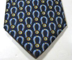 GUCCI Rich Blue  Horseshoes Horsebit Gold 100% Silk Tie  Seta RARE Italy #Gucci #NeckTie