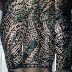 Sleeve Forearm Tattoo With Polynesian Design For Gentlemen