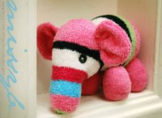Sock Animal Elephant, One of a Kind, Super soft and fuzzy, Great for Kids