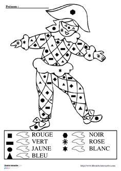 4 coloriages magiques d'Arlequin pour travailler le dénombrement de collections et la reconnaissance des formes (carré, rectangle, triangle, rond, étoile...)