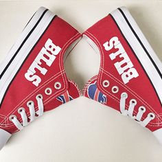 183e352bc Stand out from the crowd with Buffalo Bills team spirit in these adorable  Converse style sneakers that have handmade Buffalo Bills designs.