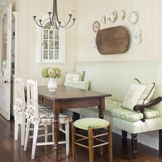 This is a Great Idea for a Small Kitchen AND remove the back Bench ... put the table against the wall in the master bath with chairs ... Wonderful!!