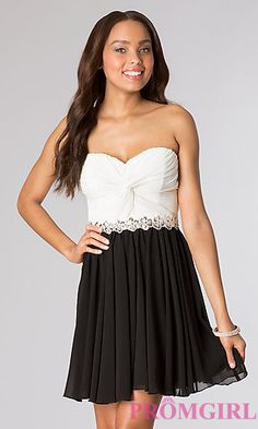 Short Ruched Strapless Sweetheart Dress at PromGirl.com