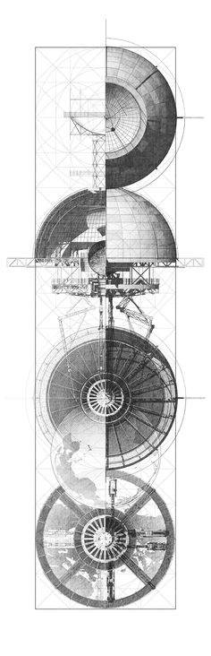 Orthographic depictions of Scaling action :: Student: Benjamin Ruswick - University: Harvard Graduate School of Design, Location: Cambridge, Massachusetts, United States. [ Thesis ] M.Arch // C. Denari's Inverted Observatory Architecture Graphics, Architecture Student, Architecture Drawings, Interior Architecture, Berkeley Architecture, Architecture Illustrations, Architecture Diagrams, Architecture Portfolio, Landscape Architecture
