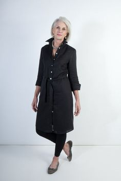 Black Italian Linen Shirtdress by Ollie & Max. Lovely to see an older lady modelling this.