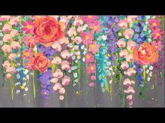 Paint Cotton Swab FLOWERS with Acrylics | Easy Step by Step LIVE Paintin...