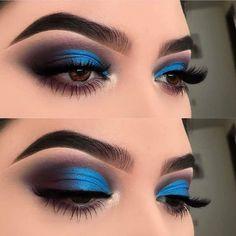 Idée Maquillage 2018 / 2019 : Top 25 Life Changing Eye Makeup Tips For Beginner. Augen Makeup, , Idée Maquillage 2018 / 2019 : Top 25 Life Changing Eye Makeup Tips For Beginner. Makeup Eye Looks, Eye Makeup Art, Blue Eye Makeup, Eye Makeup Tips, Makeup Hacks, Smokey Eye Makeup, Cute Makeup, Gorgeous Makeup, Eyeshadow Makeup