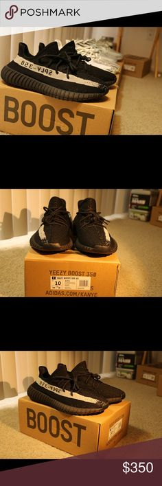 Adidas Yeezy Boost 350 core black Yeezy boost 350 V2 Core black DEADSTOCK Brand new, Never worn  Comes in with a box and everything  Size 10 only one left  Shoot my an offer if interested Leave a comment for my number Yeezy Shoes Sneakers