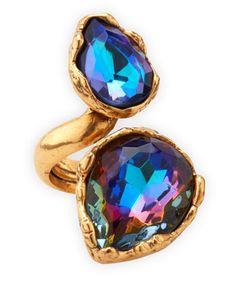 Large Crystal Teardrop Ring, Indigo by Oscar de la Renta at Neiman Marcus.
