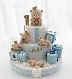 Cake with bear - Cake with bear - Torta Baby Shower, Boys First Birthday Cake, Baby Birthday Cakes, Fondant Baby, Fondant Cakes, Baby Cakes, Teddy Bear Cakes, Teddy Bears, Teddy Bear Birthday
