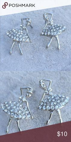 Silver Tone Crystal Dancing Ballerina Stud Earring Silver tone dancing ballerina stud earrings are set with glittering clear crystals.  Posts with friction backs complete the look.  Earrings measure 3/4 inch L x 1/2 inch W. Jewelry Earrings