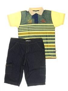 Conjunto Camiseta Polo e Bermuda Amarela Listrada e Jeans Infantil