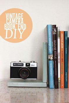 Vintage Camera book end DIY. Love this! http://smileandwave.typepad.com/blog/2012/09/vintage-camera-book-end-diy.html#